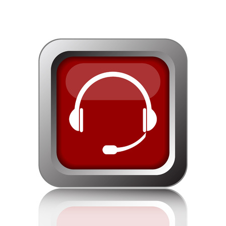 ear phones: Headphones icon. Internet button on white background