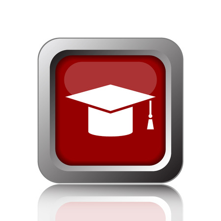 doctorate: Graduation icon. Internet button on white background