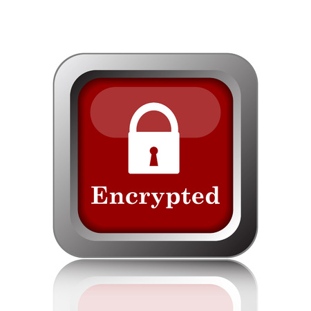 encrypted: Encrypted icon. Internet button on white background Stock Photo
