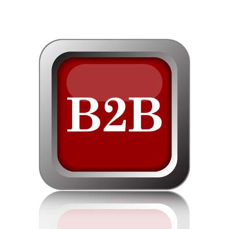 b2b: Icono de B2B. Botón de internet sobre fondo blanco