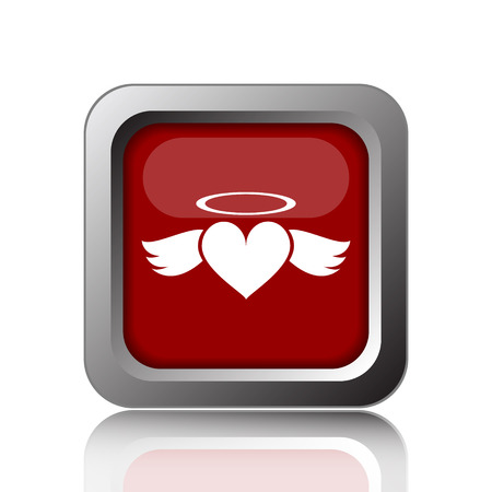 angel white: Heart angel icon. Internet button on white background