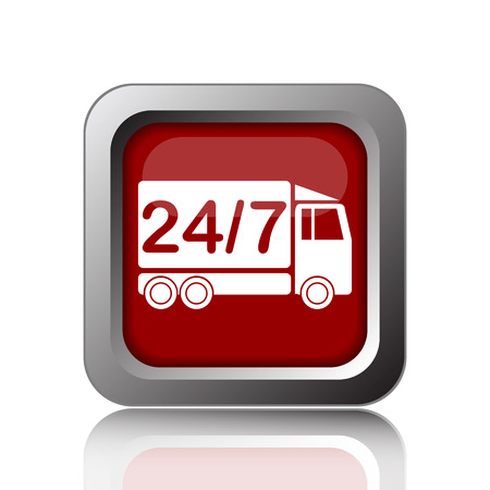 hrs: 24 7 delivery truck icon. Internet button on white background