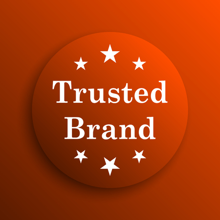 trusted: Trusted brand icon. Internet button on orange background Stock Photo