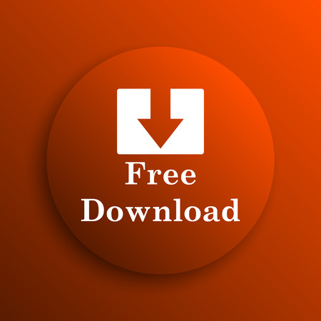 download icon: Free download icon. Internet button on orange background