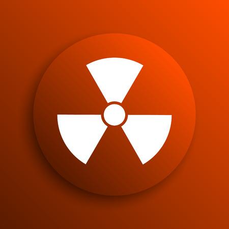 emanation: Radiation icon. Internet button on orange background Stock Photo