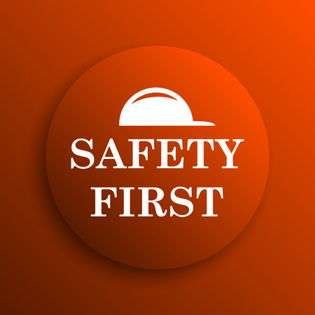 cautionary: Safety first icon. Internet button on orange background