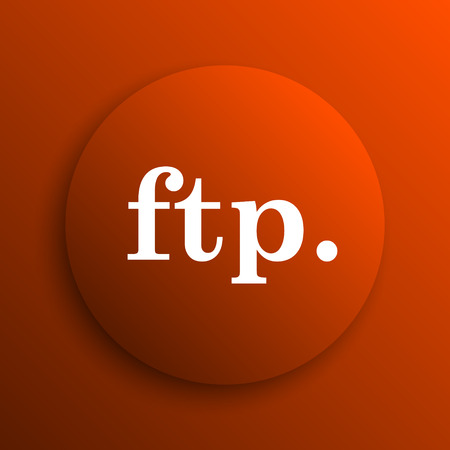 ftp: ftp. icon. Internet button on orange background