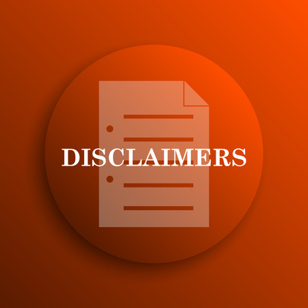 use regulation: Disclaimers icon. Internet button on orange background