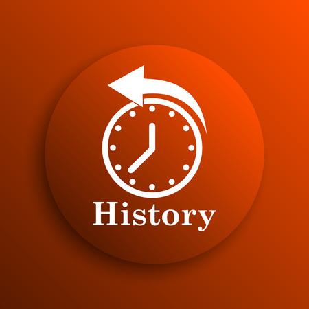 revolve: History icon. Internet button on orange background Stock Photo