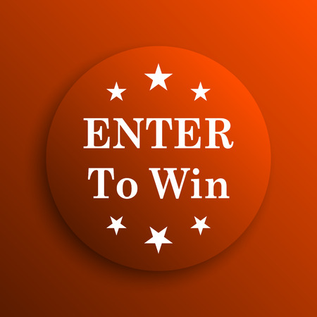 wager: Enter to win icon. Internet button on orange background Stock Photo