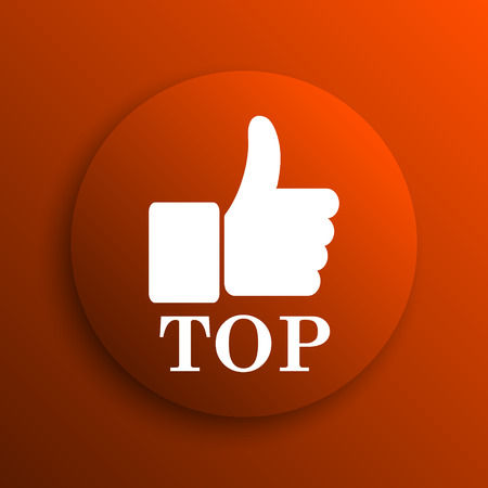 best rated: Top icon. Internet button on orange background Stock Photo