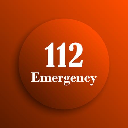 bad service: 112 Emergency icon. Internet button on orange background Stock Photo