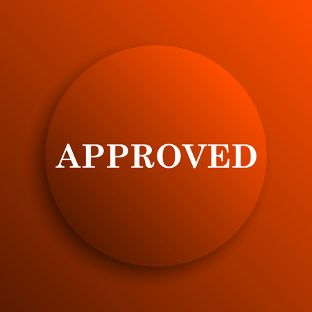approved icon: Approved icon. Internet button on orange background
