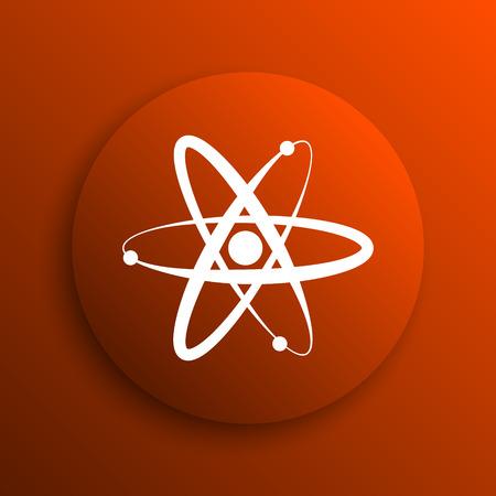 gamma radiation: Atoms icon. Internet button on orange background Stock Photo
