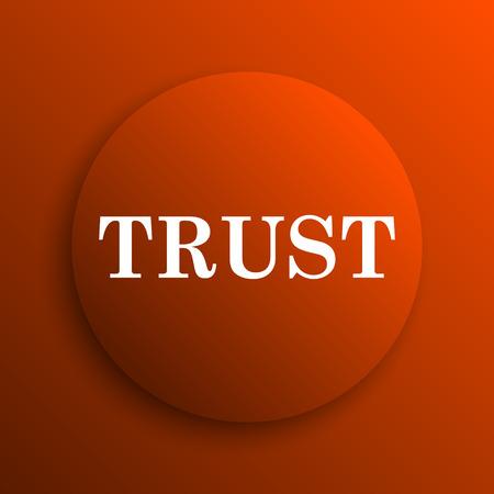 trust icon: Trust icon. Internet button on orange background