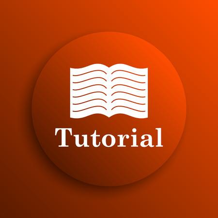 tutorial: Tutorial icon. Internet button on orange background Stock Photo