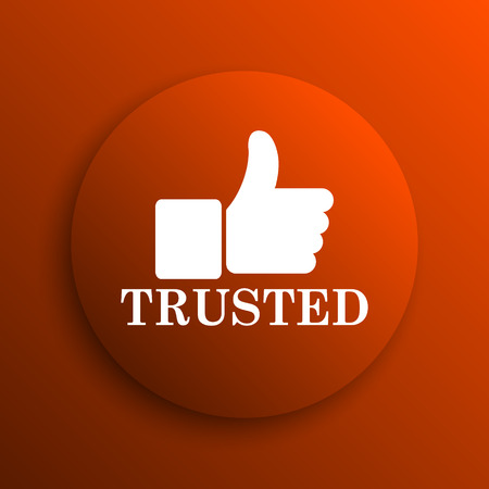 trusted: Trusted icon. Internet button on orange background