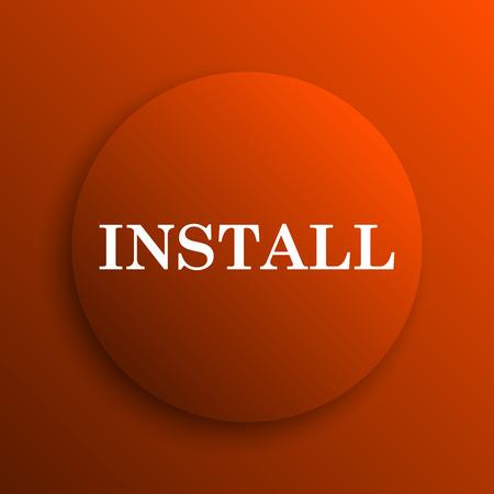 Install icon. Internet button on orange background