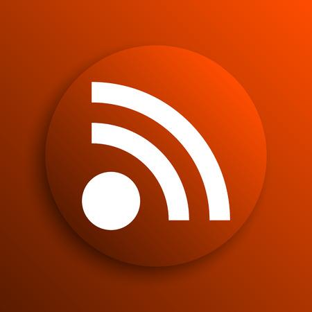 meta: Rss sign icon. Internet button on orange background