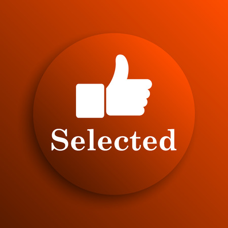 selected: Selected icon. Internet button on orange background Stock Photo