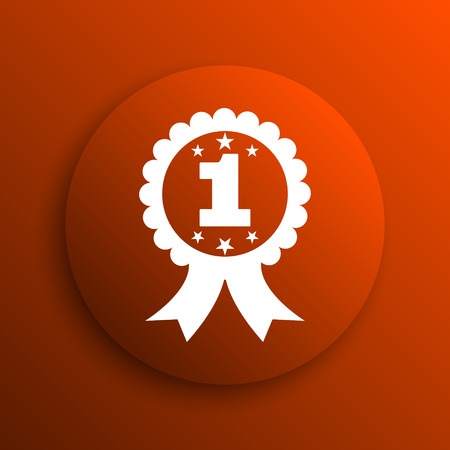 first prize: First prize ribbon icon. Internet button on orange background