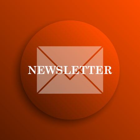 Newsletter icon. Internet button on orange background