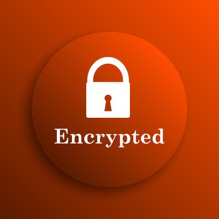 encrypted: Encrypted icon. Internet button on orange background Stock Photo