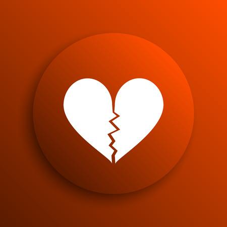 heartbreak: Broken heart icon. Internet button on orange background