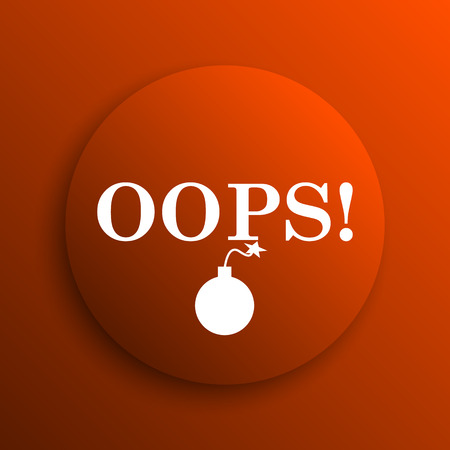 oops: Oops icon. Internet button on orange background