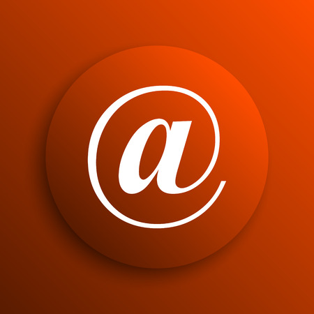 mail icon: At icon. Internet button on orange background