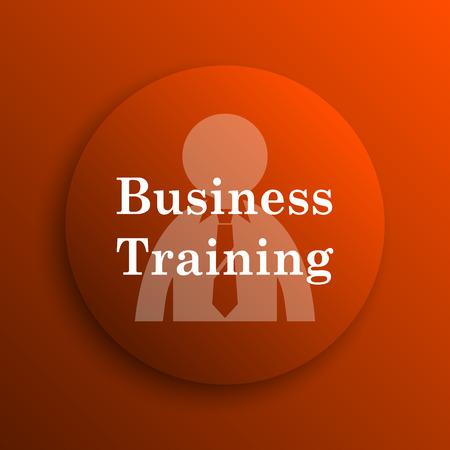 idea hurdle: Business training icon. Internet button on orange background
