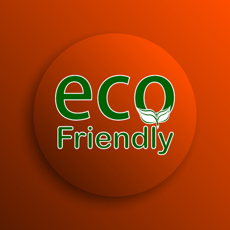 eco friendly icon: Eco Friendly icon. Internet button on orange background