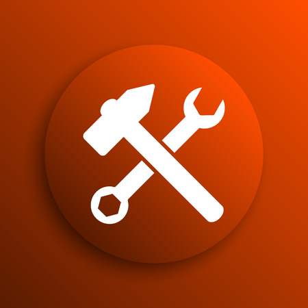 fitter: Tools  icon. Internet button on orange background