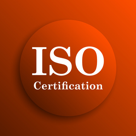 certification: ISO certification icon. Internet button on orange background Stock Photo