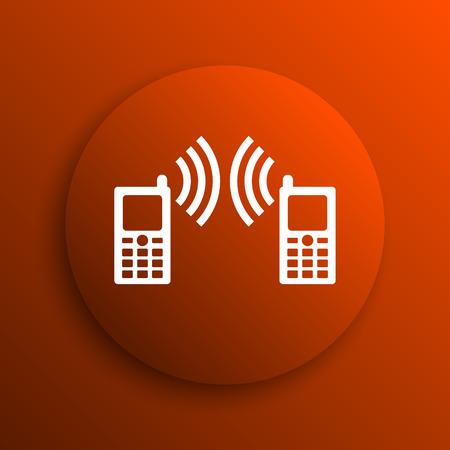 icono comunicacion: Icono de la comunicaci�n. Bot�n de internet sobre fondo naranja
