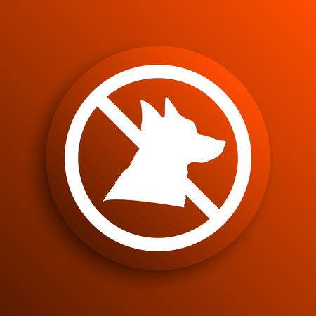 refused: Forbidden dogs icon. Internet button on orange background Stock Photo