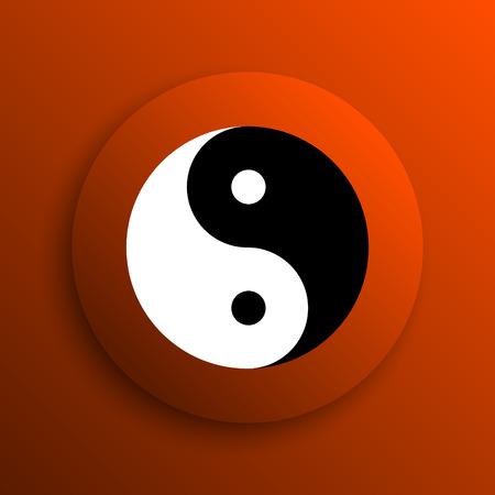 ying: Ying yang icon. Internet button on orange background Stock Photo