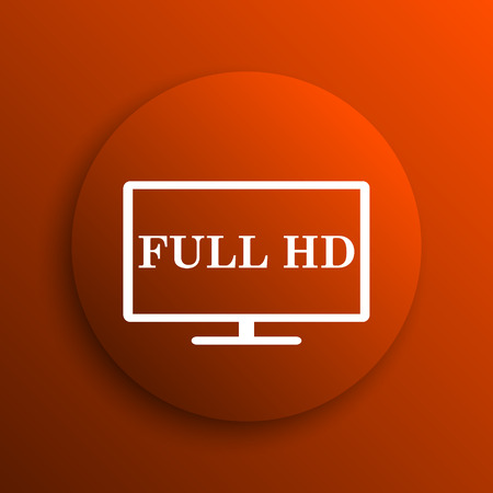 hd: Full HD icon. Internet button on orange background Stock Photo