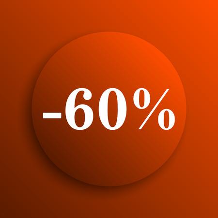 60: 60 percent discount icon. Internet button on orange background