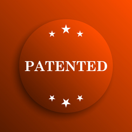 plagiarism: Patented icon. Internet button on orange background