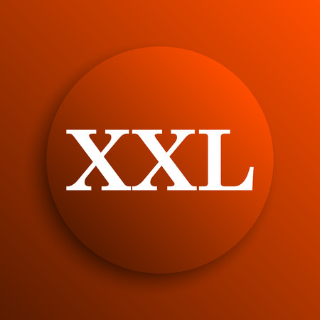 extra large size: XXL  icon. Internet button on orange background