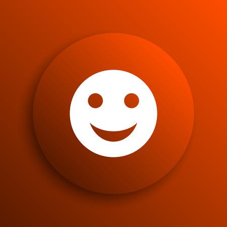 smiley: Smiley icon. Internet button on orange background