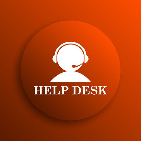 helpdesk: Helpdesk icon. Internet button on orange background