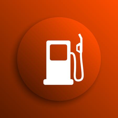 Gas pump icon. Internet button on orange background