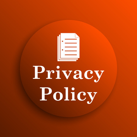 Privacy policy icon. Internet button on orange background