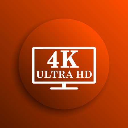 ultra: 4K ultra HD icon. Internet button on orange background Stock Photo