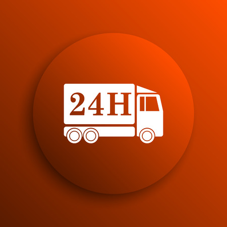 24h: 24H delivery truck icon. Internet button on orange background