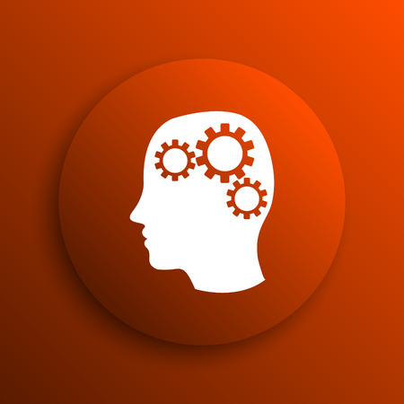 concentration gear: Brain icon. Internet button on orange background