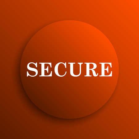 secure: Secure icon. Internet button on orange background Stock Photo