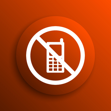 restricted icon: Mobile phone restricted icon. Internet button on orange background